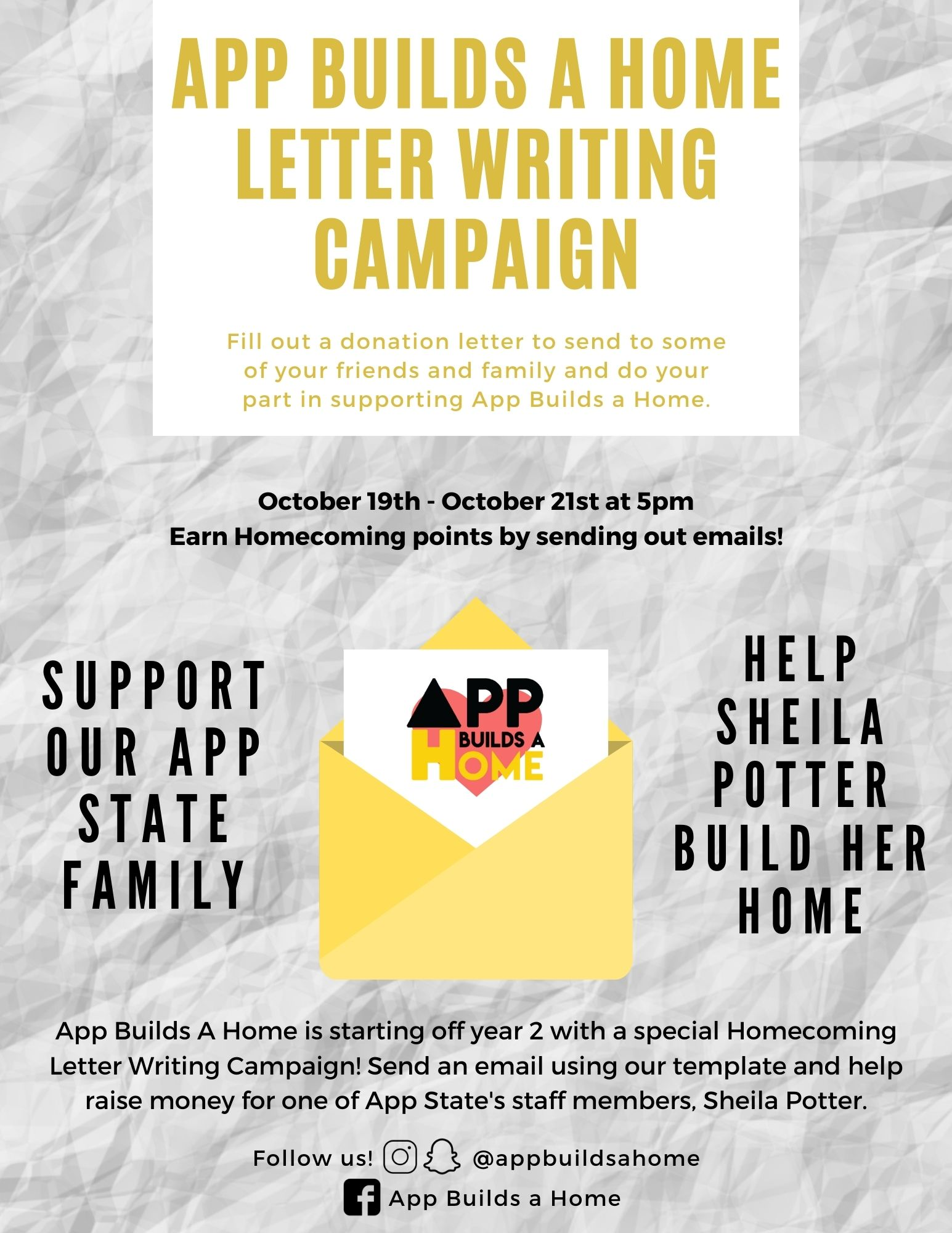 Homecoming 2020 Letter Writing Flyer